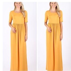 Mustard Half-Sleeve Empire-Waist Maxi Slip Dress